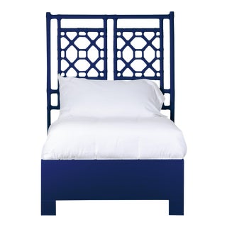 Lattice Back Bed Twin - Navy Blue For Sale