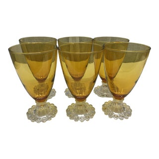 Early 20th Century Vintage Amber Water/Wine Glasses - Set of 6 For Sale