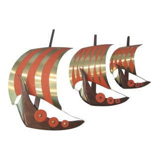 1950s Vintage Viking Ship Wall Sculptures - Set of 3