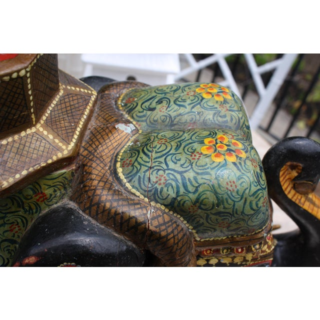 Antique Hand-Painted and Carved Wooden Elephant For Sale - Image 10 of 12