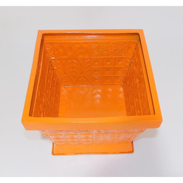 Contemporary Orange Square Metal Catchall Bin Organizer For Sale - Image 4 of 8