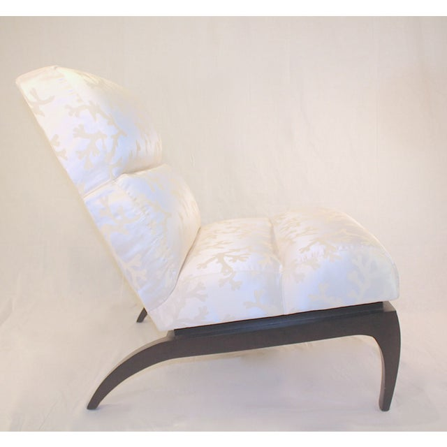 A sleek and sexy pair of contemporary white silk shantung slipper chairs with dark espresso legs. The chairs are in mint...