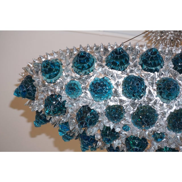 Blue Contemporary Italian Turquoise Blue & Clear Glass Oval Silver Flush / Chandelier For Sale - Image 8 of 13