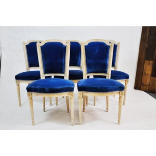 Set of 5 Antique French Oak Carved Dining Chairs With Original Blue Upholstery 1920 Preview