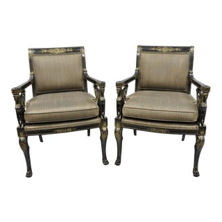Late 20th Century Vintage French Empire Regency Black Lacquer Chairs- A Pair For Sale