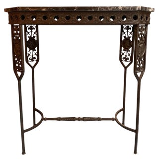 Neoclassical Revival Marble and Wrought Iron Console Table For Sale