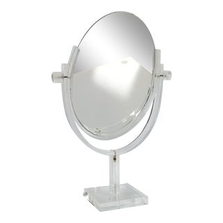 Vintage Charles Hollis Jones Style Lucite Table / Vanity Mirror For Sale