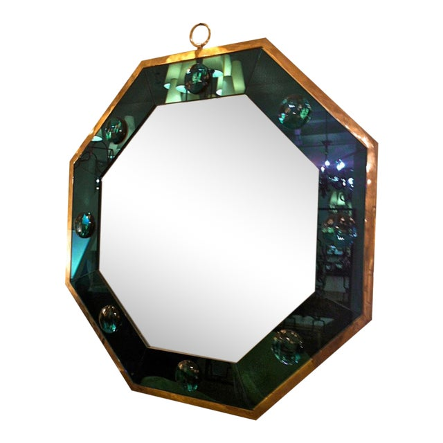Andre Hayat Octagonal Silvered Frame Mirror With Deep Blue Insert For Sale