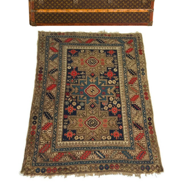 Outstanding Antique Caucasian Rug, Hand Knotted Wool Persian Rug, featuring 3 star center medallions - and rich colors....