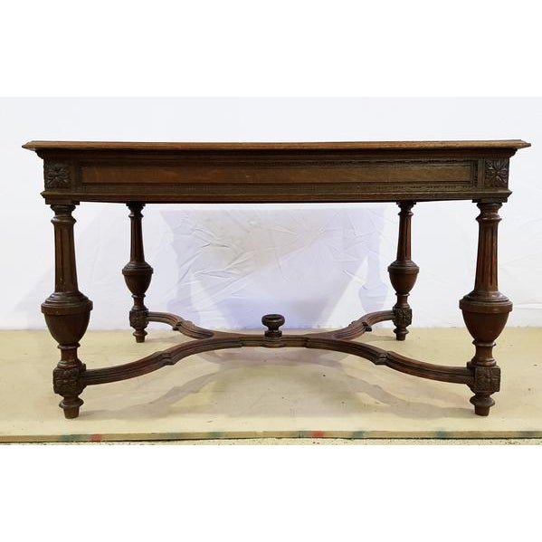 French Rectangular Carved Antique French Jacobean Style Oak Dining Table For Sale - Image 3 of 12