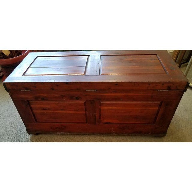19th Century Antique Victorian Carved Panel Cedar Chest For Sale - Image 4 of 12