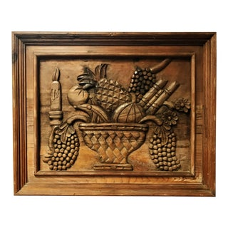 Vintage Mid Century Solid Wood Hand Carved Wall Hanging For Sale