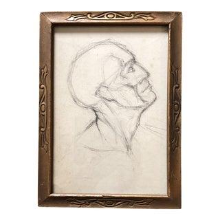 Original Deco Charcoal Figure Sketch Head Deco Frame For Sale