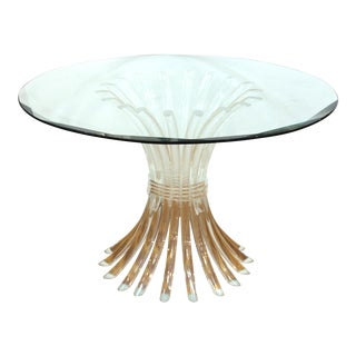 Charles Hollis Jones Style Lucite Base Dining Table With Glass Top For Sale