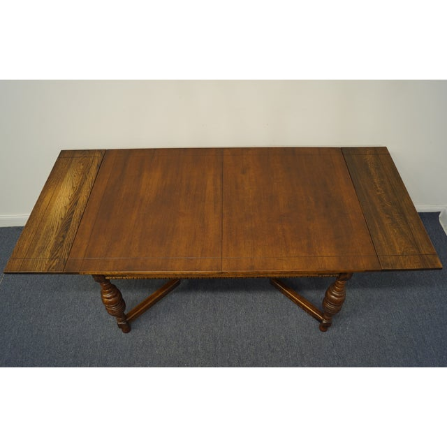 """Vintage Antique Oak English Revival Gothic Jacobean 84"""" Draw Leaf Dining Table For Sale - Image 9 of 11"""