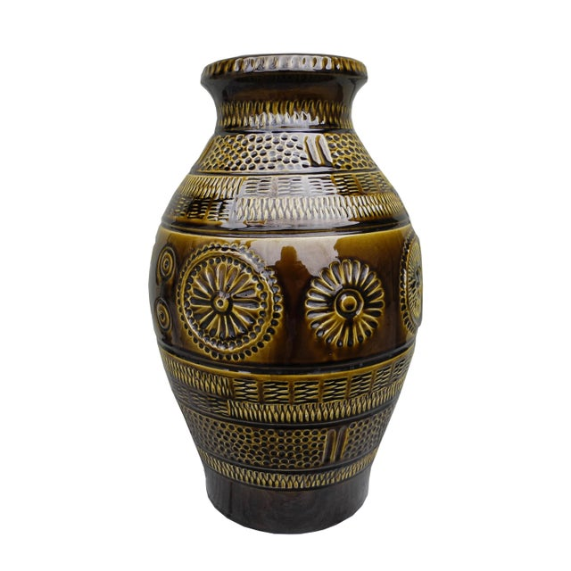 1960s Modern Large Ceramic Pottery Vessel Jar Vase From West Germany For Sale - Image 10 of 10