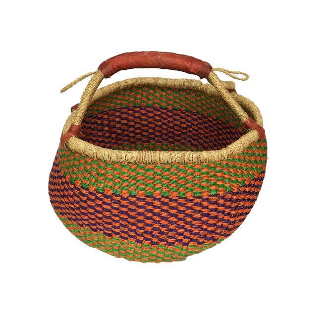 Leather Large African Bolga Ghana Market Basket For Sale - Image 7 of 7