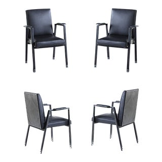 Jacques Adnet Rare Set of 4 Black Hand Stitched Leather Arm Chairs For Sale