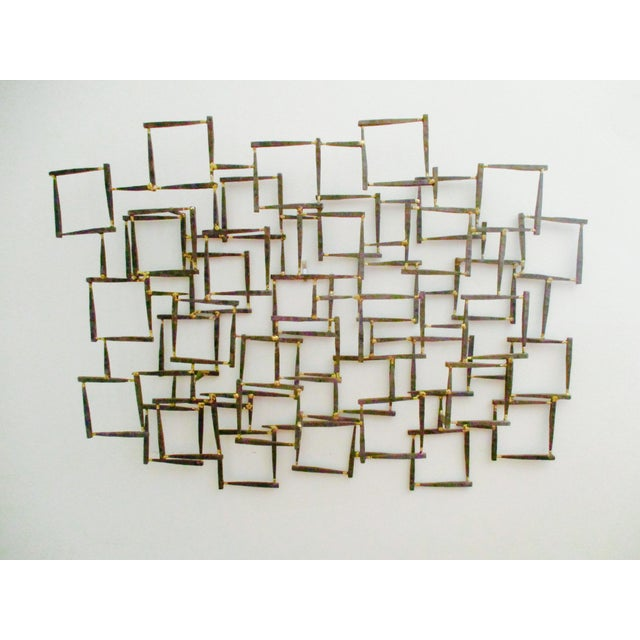 Modernist Abstract Brutalist Iron Nail Sculpture Wall Art | Chairish