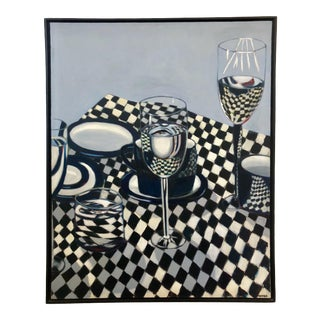 1992 Op Art Still Life Painting For Sale