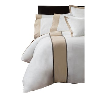 Monte Carlo Banded Duvet Cover Queen - Pumice For Sale