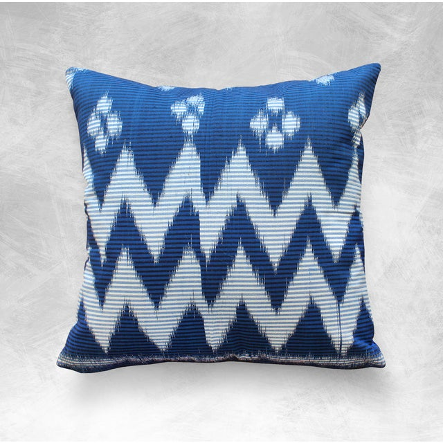 """Java Ripples"" Indigo Handwoven Ikat Pillow Cover - Image 4 of 5"