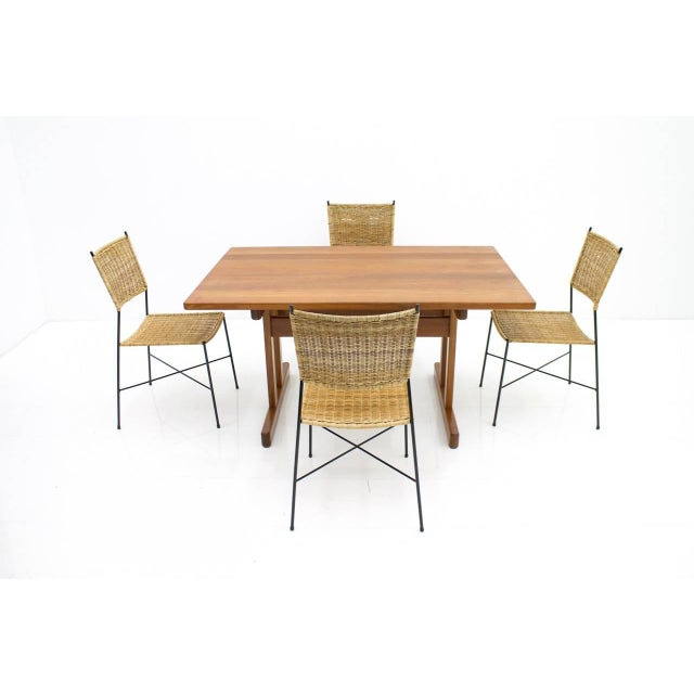 Mid-Century Modern Set of Four Dining Room Chairs in Wicker and Metal, Germany, 1960s For Sale - Image 3 of 12
