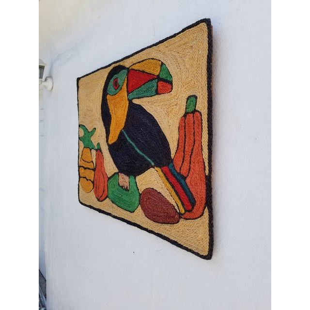 Mid-Century Modern 1970s Mid-Century Modern Hand-Woven Sign of Alexander Calder Era Toucan With Fruit Tapestry For Sale - Image 3 of 9