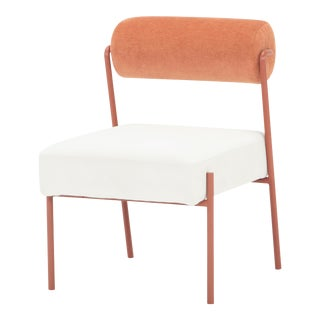 Marni Dining Chair In Oyster and Rust For Sale