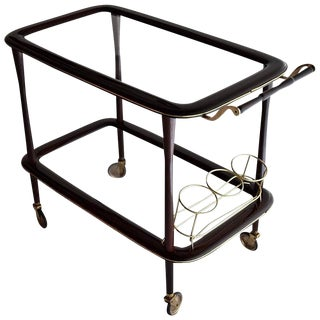 Italy Mid Century Modern Mahogany Bar Trolley by Cesare Lacca