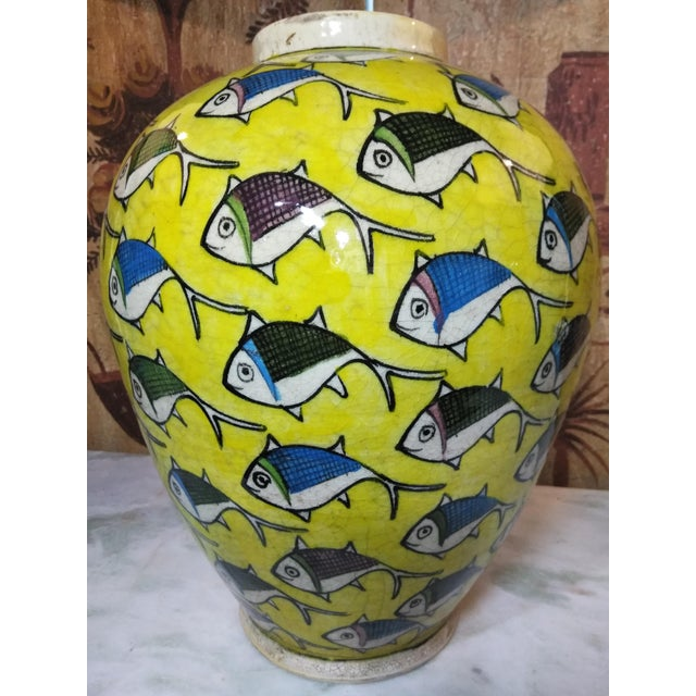 1960s Contemporary Persian Large Yellow Ceramic Fish Vase For Sale - Image 13 of 13