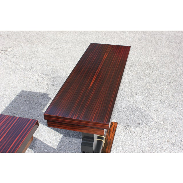 Classic Pair of French Art Deco Exotic Macassar Ebony Console Tables, Circa 1940s For Sale In Miami - Image 6 of 13