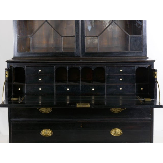 Gold English Georgian Antique Black Butler's Secretary Desk With Bookcase, 19th Century For Sale - Image 8 of 13
