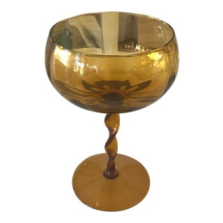 Mid - Century Handblown Amber Glass Pedestal Bowl For Sale