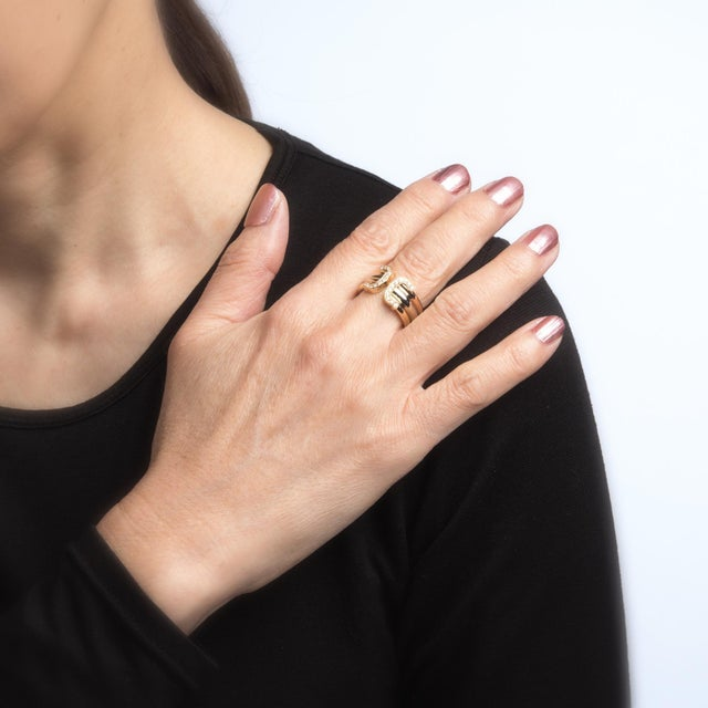 Vintage Cartier Double C Diamond Ring 18 Karat Gold 1997 Estate Jewelry Band For Sale In Los Angeles - Image 6 of 8
