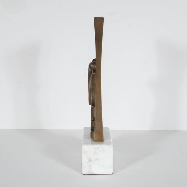 Mid-Century Modern sculpture in patinated bronze and marble by Sante Monachesi, an impressive abstract sculpture by this...