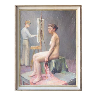 Vintage Artist and His Muse Oil on Canvas For Sale