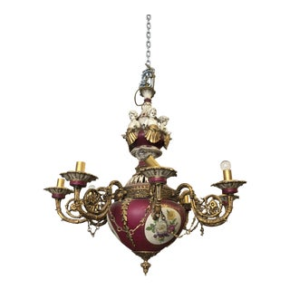 1980s French Regency Porcelain Chandelier From Le Belvedere Mansion For Sale