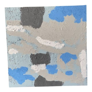 Contemporary Abstract Gray and Blue Mixed-Media Painting For Sale