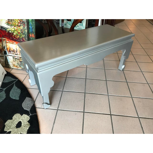 Boho Chic Painted Silver Rectangular Cocktail Table For Sale - Image 3 of 7
