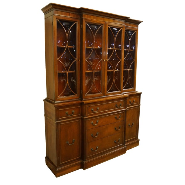 American 1960s Mahogany Traditional Style Secretary Credenza With Display China Cabinet Hutch For Sale - Image 3 of 13