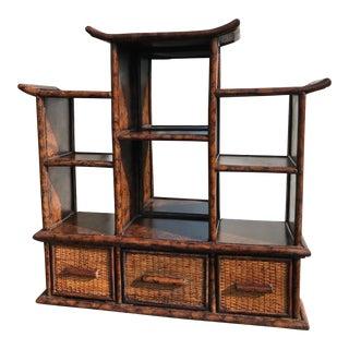 Vintage Bamboo Pagoda Storage Shelf For Sale