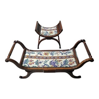 Pair of Empire Style Bedroom Scroll End Bench Seats For Sale