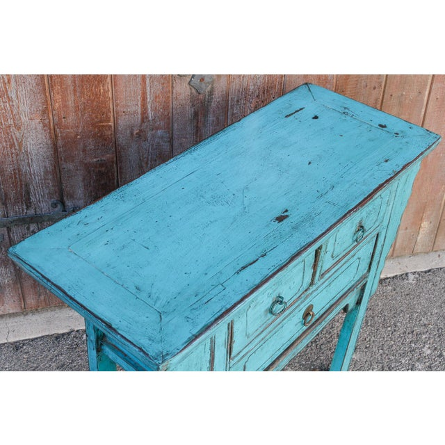 1980s Beautiful Chinese Turquoise Altar Dresser For Sale - Image 5 of 9