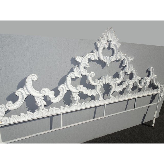 Vintage French Provincial Louis XVI Rococo White Metal King Headboard For Sale - Image 4 of 12