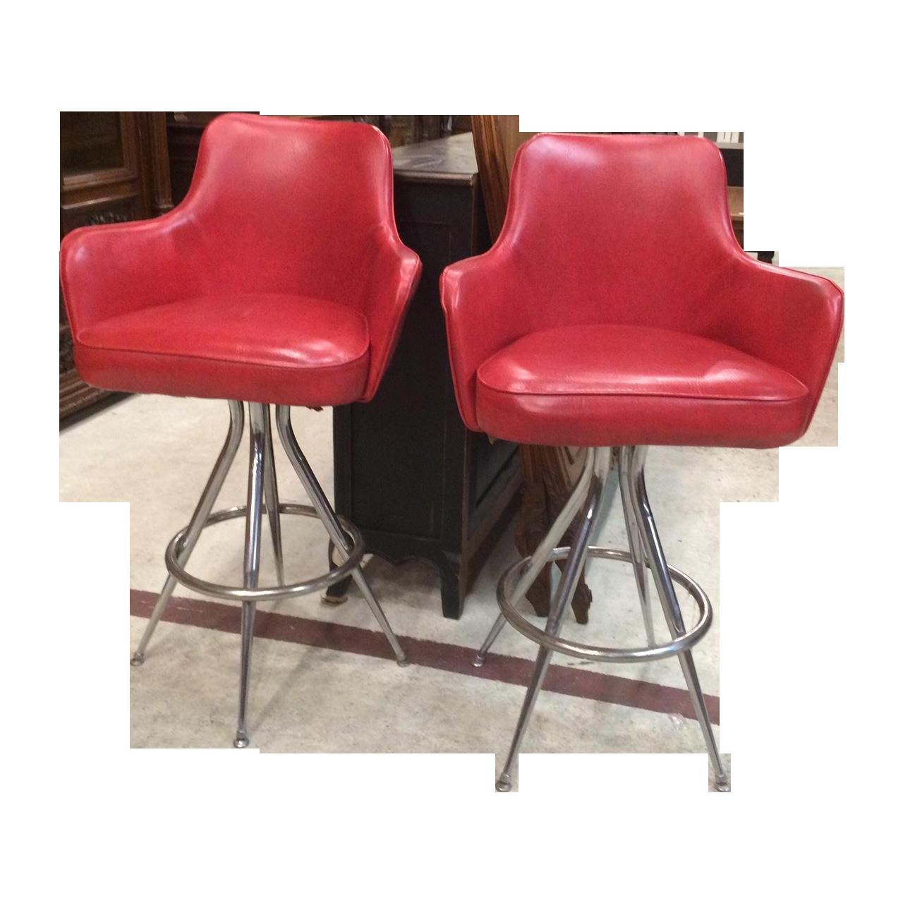 vintage 1970s red bar stools - pair | chairish 1970s Bar Stools