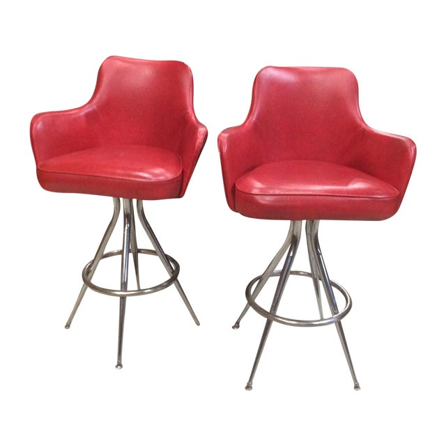 Vintage 1970s Red Bar Stools - Pair - Image 1 of 6