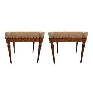19th Century Italian Painted and Gilt Wood Benches-A Pair For Sale