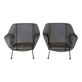 Pair of Bronze Finish Woodard Wrought Iron Lounge Chairs For Sale