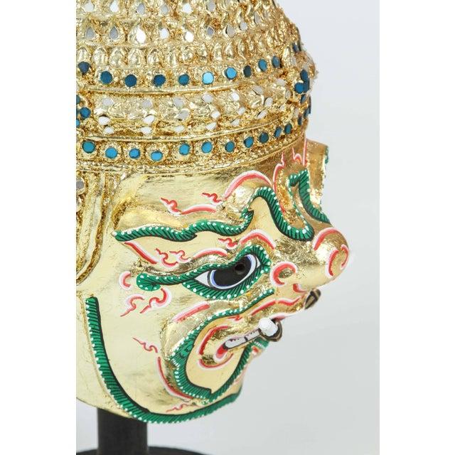 Gilt Thai Demon Mask Dance Headdress Crown For Sale In Los Angeles - Image 6 of 9